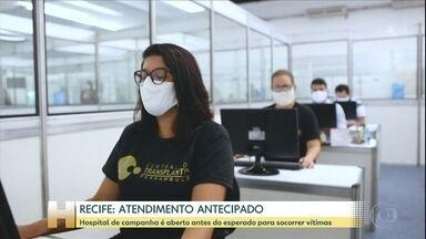 Hospital de campanha em Recife começa a receber pacientes com Covid-19 - O hospital de campanha só começaria a funcionar na próxima semana. Os leitos de UTI para Covid-19, em Pernambuco, estão lotados.
