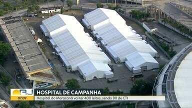 Maracanã terá hospital de campanha com 400 leitos - São duas grandes tendas, montadas onde ficava o Estádio de Atletismo Célio de Barros.