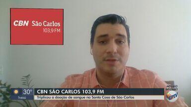 Número de doações de sangue triplica na Santa Casa de São Carlos - Devido à pandemia de coronavírus, o estoque estava abaixo do necessário.