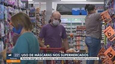 Portaria obriga o uso de máscaras em supermercados de SC - Portaria obriga o uso de máscaras em supermercados de SC