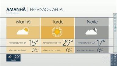 Domingo de muito sol e calor na capital. A temperatura máxima chega aos 29 graus - Durante a semana as temperaturas também ficam acima dos 25 graus, sem chuva até quinta-feira