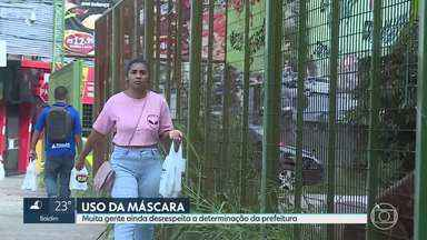 Uso de máscaras: primeiro fim de semana do decreto, em BH - Mesmo com o pedido das autoridades de saúde e com uma lei na cidade que limita a circulação sem máscara, muita gente foi flagrada sem a proteção em Belo Horizonte.