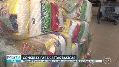 Começou a consulta para distribuição de cestas básicas para carroceiros e motoristas - A distribuição dos alimentos pela Prefeitura de Belo Horizonte começa na terça-feira. Serão atendidas famílias de carroceiros e motoristas escolares e de transporte suplementar já cadastradas.