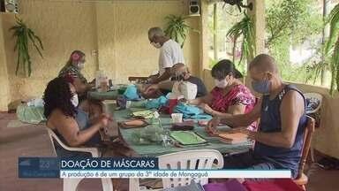 Grupo da 3ª idade produz máscaras em Mongaguá - Em um mês, o grupo conseguiu doar mil máscaras.
