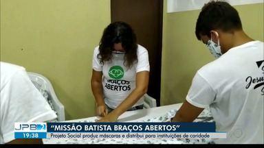 """Projeto Social produz máscaras e distribui para instituições de caridade - """"Missão Batista Braços Abertos""""."""
