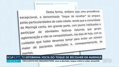 TJ-PR determina volta do toque de recolher em Maringá - Decisão foi publicada nesta quarta-feira (29).