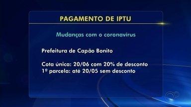 Cidades da região de Itapetininga prorrogam prazo para pagamento do IPTU - Para amenizar o impacto econômico causado pela pandemia de coronavírus, as prefeituras de Capão Bonito, Avaré, Boituva e Itapetininga (SP) fizeram modificações nos pagamentos.