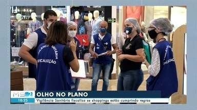 Vigilância Sanitária fiscaliza se shoppings estão cumprindo regras - Vigilância Sanitária fiscaliza se shoppings estão cumprindo regras