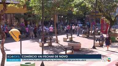 Comércio de Londrina terá que fechar as portas novamente - Prefeitura foi intimada da decisão do Tribunal de Justiça que atendeu a um pedido do Ministério Público pedindo a suspensão do decreto que reabriu as lojas no dia 20 de abril