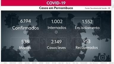 Pernambuco tem 6.194 casos de Covid-19, com 538 mortes - Dados são do boletim divulgado pela Secretaria Estaduald de Saúde na quarta (29).