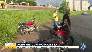 Motociclista fica ferido após se envolver em acidente na BR-324 - Veja informações sobre a ocorrência, que deixa o fluxo lento na região de Pirajá, em Salvador.