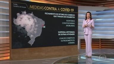 Veja medidas de combate ao coronavírus em estados brasileiros - Diante do aumento no número de casos do novo coronavírus e do baixo índice de isolamento, alguns estados voltam atrás em medidas de flexibilização. Em Sergipe, por exemplo, governo determinou o fechamento de setores do comércio que tinham sido reabertos.