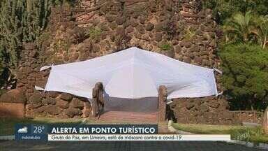 Gruta da Paz, em Limeira, aparece de máscara para conscientizar contra a Covid-19 - Prefeitura alerta para o risco da doença em um dos principais pontos turísticos da cidade.