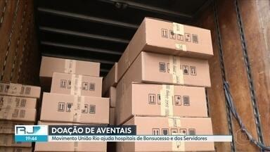 Movimento União Rio faz doação para hospitais - Sociedade civil se mobiliza para ajudar Hospital dos Servidores e Hospital de Bonsucesso, que precisavam com urgência de aventais para profissionais de saúde. 1.500 unidades foram doadas.