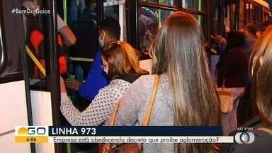 Transporte coletivo lotado em Goiânia apesar de recomendações da Saúde - Passageiros relatam que não têm que esperar horas por novo ônibus por causa das novas regras e, ainda assim, ficam muito expostos ao risco da contaminação pelo coronavírus.