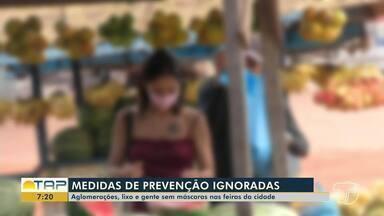 Frequentadores e vendedores ignoram medidas de prevenção à Covid-19 nas feiras de Santarém - O uso d máscaras e aglomerações são umas das medidas ignoradas mais comuns.