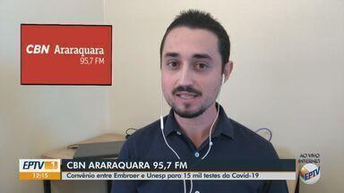Parceria entre Embraer e Unesp viabiliza 15 mil testes de Covid-19 em Araraquara - O apresentador da CBN Milton Filho traz mais informações.