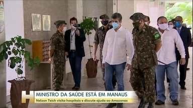 Ministro da Saúde está em Manaus para visitar hospitais que atendem pacientes da Covid-19 - O ministro Nelson Teich visita o hospital Delfina Aziz para conhecer a estrutura da unidade. O governador do Amazonas, Wilson Lima do PSC, acompanha a visita.