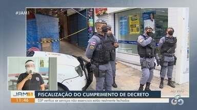 SSP-AM realiza fiscalização do cumprimento de decreto durante quarentena em Manaus - Ação verifica se serviços não essenciais estão realmente fechados.