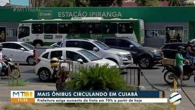 70% da frota de ônibus começa a circular em Cuiabá - 70% da frota de ônibus começa a circular em Cuiabá.
