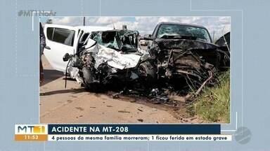 Quatro pessoas da mesma família morrem em acidente de trânsito - Quatro pessoas da mesma família morrem em acidente de trânsito.
