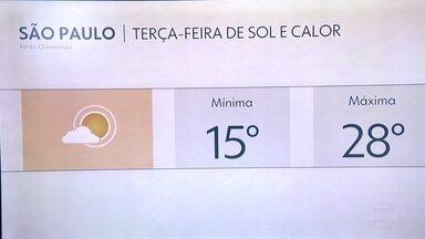Terça-feira deve ser novamente de ar seco, madrugada fria e tarde mais quente - Temperatura máxima deve chegar a 28 graus e a umidade deve ficar em 35%