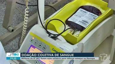 Militares do 8°BEC fazem doação solidária para reforçar estoque do Hemopa - Faltam bolsas de sangue no hemocentro de Santarém.