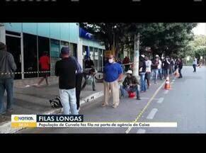 População de Curvelo faz filas nas agências da Caixa em busca do auxílio emergencial - Prefeitura da cidade toma medidas para evitar as aglomerações.