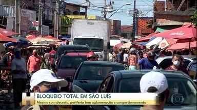 Coronavírus: Aglomerações são registradas na Grande São Luís no segundo dia de 'lockdown' - Grandes avenidas tiveram movimento tranquilo, mas periferia teve engarrafamento e comércio não essencial aberto.