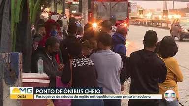 Quem pega ônibus em Contagem reclama de superlotação - Nossa equipe acompanhou o embarque e o desembarque na Fernão Dias.