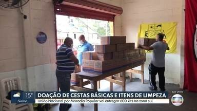 União Nacional por Moradia Popular entrega cestas básicas e itens de limpeza na zona sul - São 600 kits que serão doados para quem precisa.