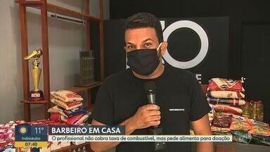 Coronavírus: barbeiro arrecada alimentos para famílias de baixa renda em São Carlos - No lugar da taxa de combustível cobrada para ir até a casa de clientes, profissional pede alimentos que, posteriormente, são repassados a quem precisa.