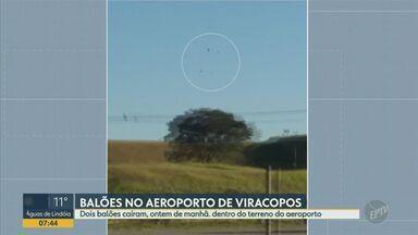 Balões caem dentro do Aeroporto de Viracopos, em Campinas - Foram avistados cinco balões próximos do terminal no domingo (10), diz concessionária. Dois caíram no terreno do aeroporto, mas não na pista, por isso não prejudicaram a operação.