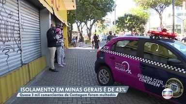Adesão ao isolamento social em Minas Gerais é baixa e domingo (10) registra taxa de 43% - O desrepeito é de pessoas que saem de casa e comerciantes que abrem as portas sem autorização.