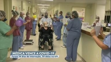 Médica vence a Covid-19 e sai aplaudida pelos colegas - Foram 54 dias internada, 50 deles na UTI, em um hospital em São Paulo.