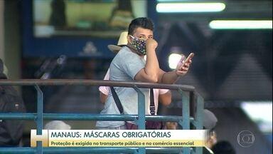 Coronavírus: Em Manaus, uso de máscaras passa a ser obrigatório em comércios essenciais - Em Manaus, a partir desta segunda (11) passa a ser obrigatório o uso de máscara no transporte público e nos serviços essenciais.
