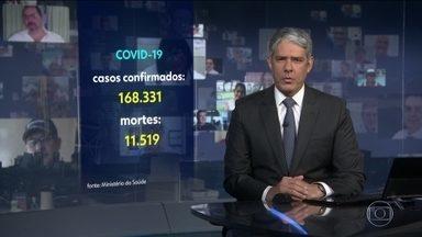 Brasil registra 11.519 mortes pelo coronavírus - São 168.331 casos confirmados da doença no país. Dados são do Ministério da Saúde.