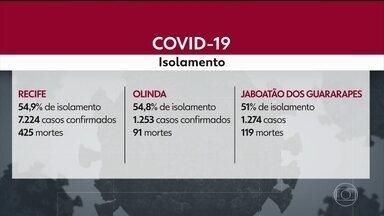 Veja o índice de isolamento nas cinco cidades onde foi decretada quarentana - Dados são do Ministério da Saúde e apontam que Recife, Olinda, Jaboatão dos Guararapes, Camaragibe e São Lourenço da Mata estão com isolamento abaixo de 55%.