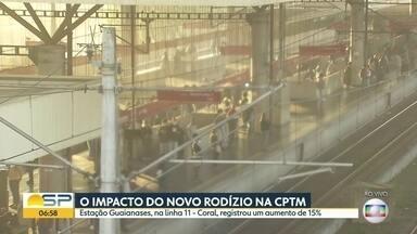 O impacto do novo rodízio na CPTM - Estação Guaianases, na linha 11 - Coral, registrou um aumento de 15%.