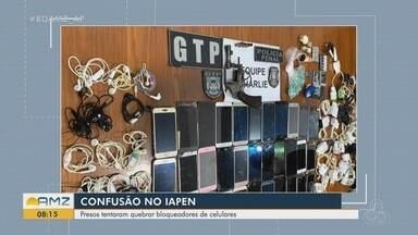 Presos tentam quebrar bloqueadores de celulares e causam tumulto em pavilhão no IAPEN - Presos tentam quebrar bloqueadores de celulares e causam tumulto em pavilhão no IAPEN
