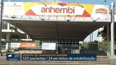 Hospital do Anhembi tem 17 mortes em 31 dias - No hospital de campanha do Anhembi, são 521 pessoas internadas. E foram confirmadas mais 4 mortes lá, que recebe apenas pacientes com quadros menos graves.