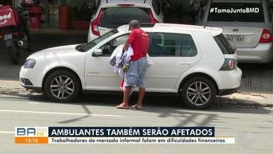 Vendedores ambulantes são afetados por medidas restritivas no bairro da Pituba - Medida foi adotada em algumas localidades de Salvador para conter o avanço da Covid-19 e, no bairro, passa a valer a partir de quarta-feira.
