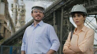 Natalie visita a KM - A jornalista desafia Miguel a consumir a água que ele afirma não estar poluída