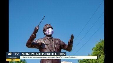 Monumentos de máscaras - Objetivo é conscientizar a população para o uso da proteção