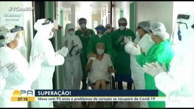 Idosa com problemas no coração se recupera da Covid-19 - Dona Raimunda, de 93 anos, está curada após 12 dias internada na UTI de um hospital de Castanhal, no nordeste do estado.