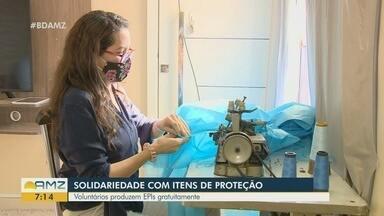 Em Manaus, grupo de voluntários trabalham na confecção de equipamentos de proteção - Materiais são doados para profissionais da Saúde.