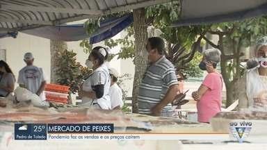 Pandemia faz vendas e preços caírem no Mercado do Peixes de Santos - Comércios localizados na Ponta da Praia sofrem com a crise causada pela pandemia.