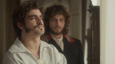 Dom Pedro teme a maldição dos primogênitos dos Bragança - O príncipe regente conta a história para Joaquim, que consola o amigo