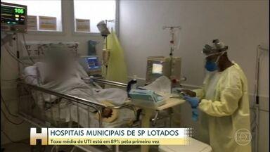 Coronavírus: Taxa média de UTI está em 89% pela primeira vez na cidade de SP - Pela primeira vez, a taxa média de ocupação das UTIs nos hospitais municipais reservados para atender pacientes da Covid-19, chegou a 89%. Metade já atingiu a lotação máxima.