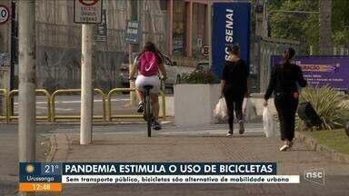 Sem transporte público em SC, bicicletas são alternativa para mobilidade urbana - Sem transporte público em SC, bicicletas são alternativa para mobilidade urbana